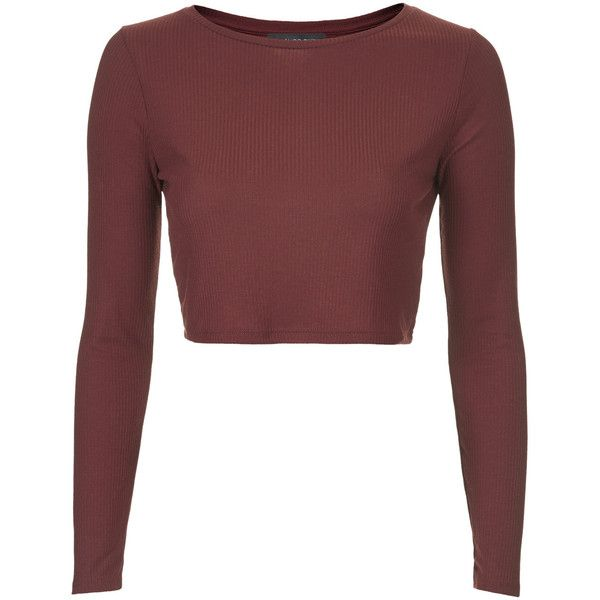 TOPSHOP PETITE Long Sleeve Skinny Ribbed Crop Top ($14) ❤ liked on Polyvore featuring tops, crop tops, shirts, topshop, burgundy, petite, petite long sleeve tops, red top, petite shirts and burgundy crop top