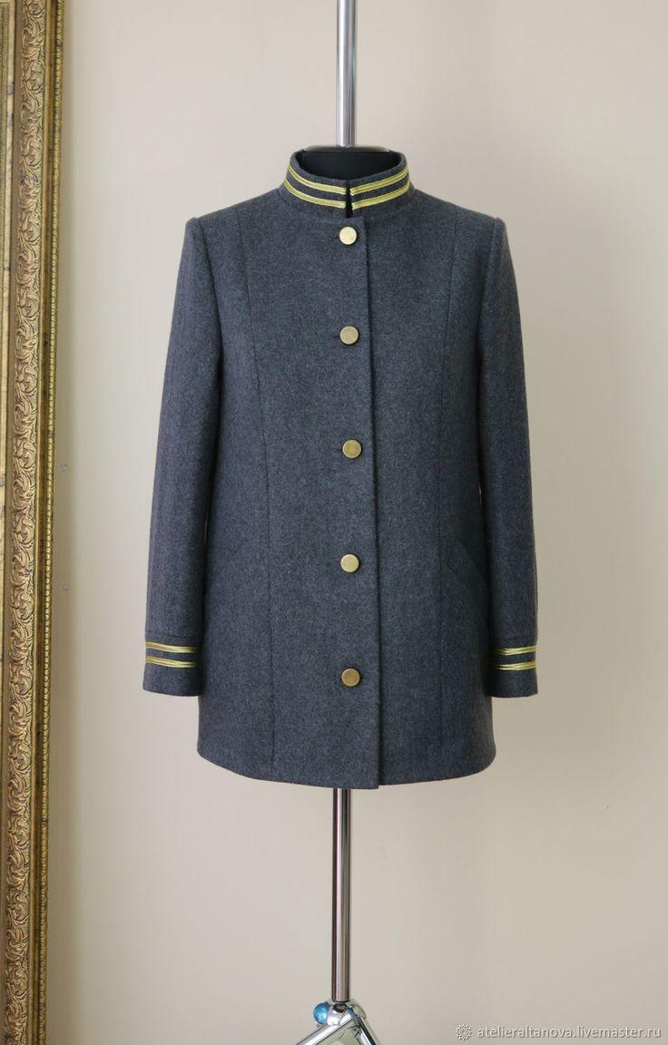 Купить Серое пальто в стиле милитари - милитари, серый, зимнее пальто, купить пальто