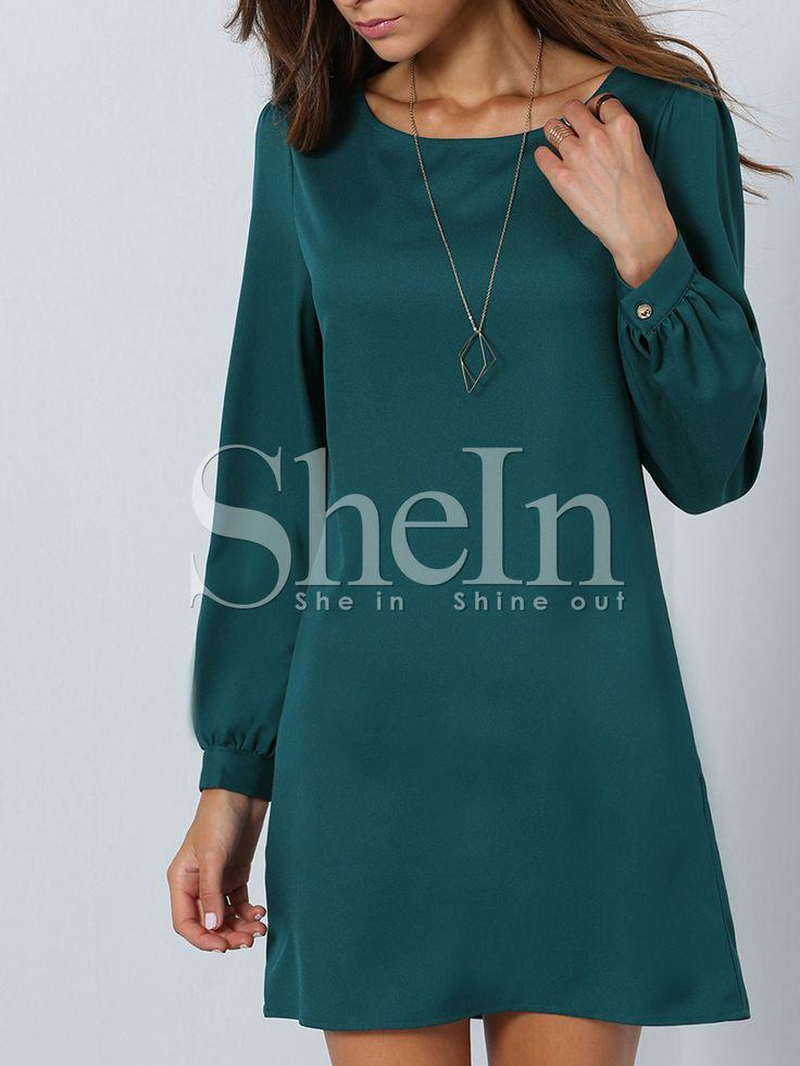 Vestido manga larga casual -verde 14.54