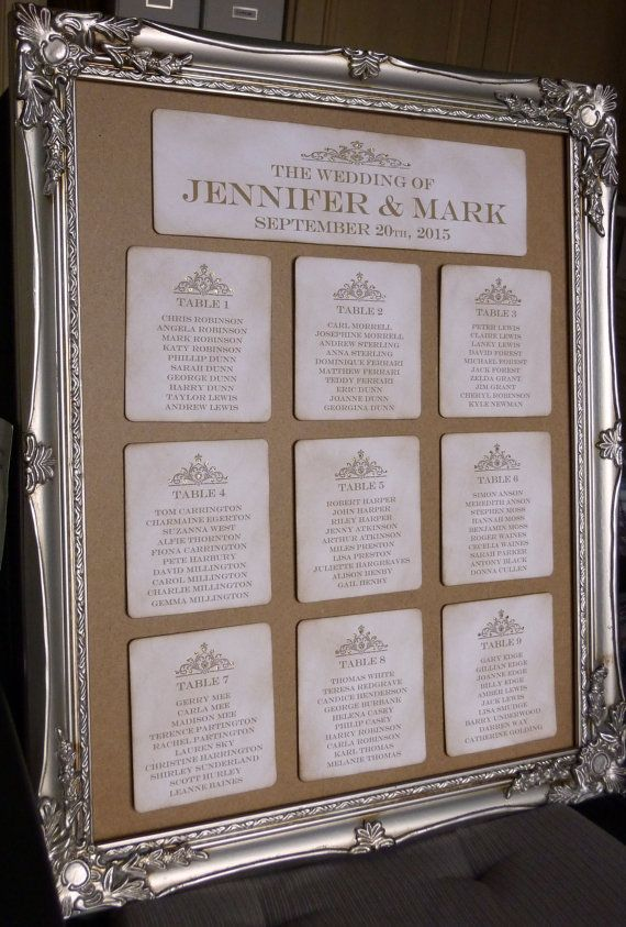 Gold Wedding Table Seating Plan Vintage Charm All by amaretto