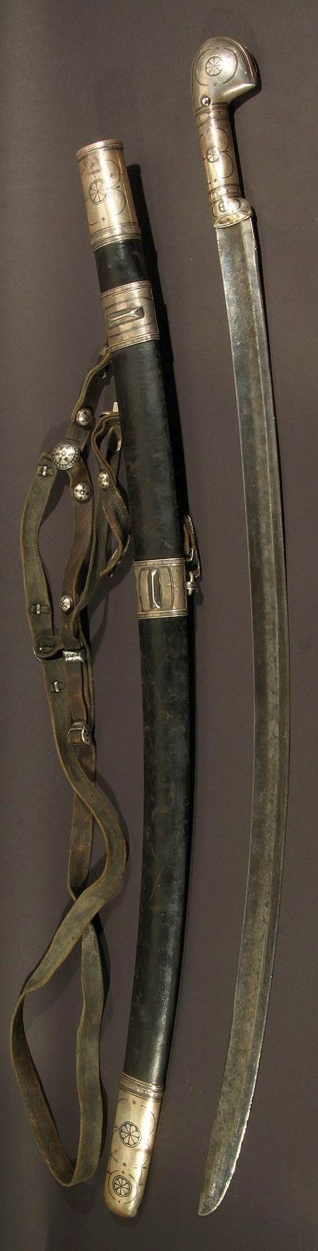 Circassian / Caucasian shashka sword, neillo mounts with leather sword belt, late 19th to early 20th century.