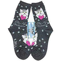 Aesthetinc Women Valentine Cat Print Novelty Cotton Crew Socks