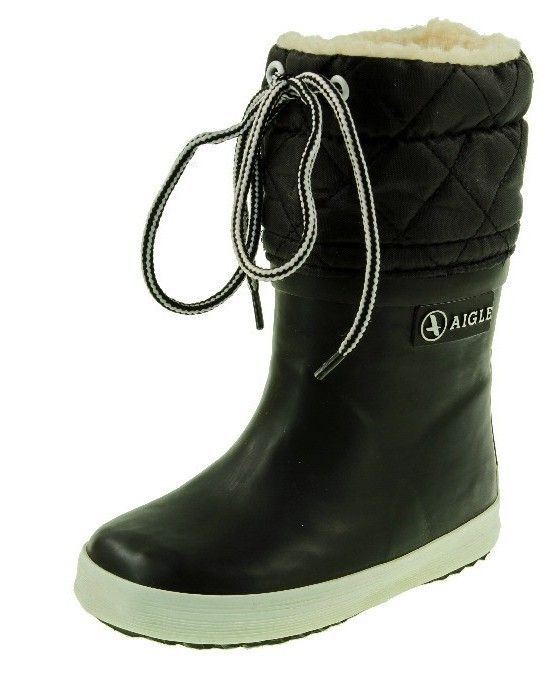 NEW Aigle Childrens Fur Lined Snow Boot Black And White Wellington Boots Boys Girls various sizes