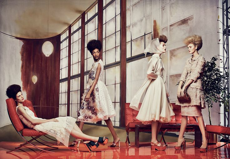Eternal Optimism Photographed by: Craig McDean Styling by: Grace Coddington Models: Frida Gustavsson, Caroline Trentini, Karlie Kloss, Jourdan Dunn & Aymeline Valade US Vogue, March 2012
