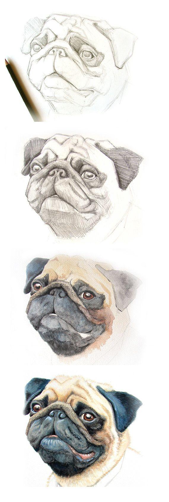 Retrato de un cachorro pug. Cuando la inspiración llega, grandes cosas pueden hacerse