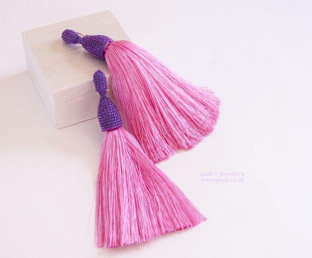 Clip On Earrings – Longs tassels beaded earrings – a unique product by Gude-Julia on DaWanda