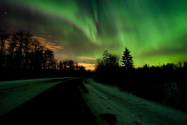 Aurora borealis in winter in Elk Island National Park, Alberta, the best place to see the northern lights is Alberta