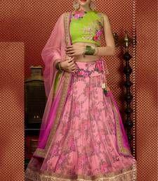 Buy Pink embroidered bhagalpuri and net unstitched lehenga choli lehenga-choli online