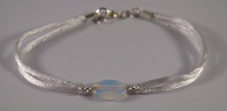 White bracelet with opal by TosTosia