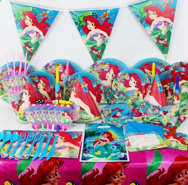 Children Birthday Party Mermaid theme Plate Cup Sucker Hat
