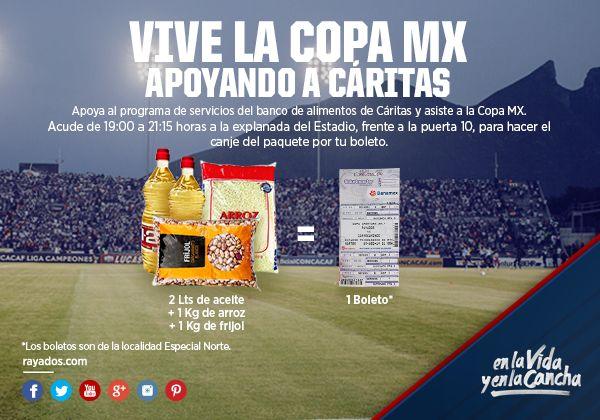 ¡Apoyemos juntos al Banco de alimentos de Cáritas de Monterrey, ABP. #ESR Ven hoy al partido de #CopaMX, habrá canje de 1 boleto de Especial Norte a cambio de 1 paquete que incluya: 2 litros de aceite, 1 kilo de frijol y 1 kilo de arroz.   La mecánica se realizará frente a la puerta 10 del Estadio de 19:00 a 21:15hrs.