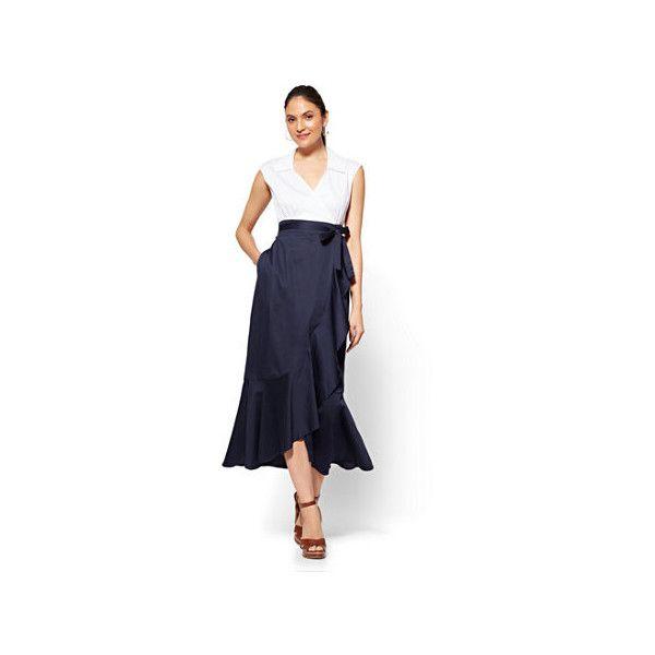 7th Avenue Maxi Wrap Poplin Dress (€33) ❤ liked on Polyvore featuring dresses, blue, blue dress, ruffle hem dress, wrap front maxi dress, wrap maxi dress and hi low maxi dress