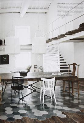 cool idea to bring tile into the wood floor with unusual integration...studio karin: ETT FANTASTISKT HEM I VINTAGE MODERN MIX - NAVONE