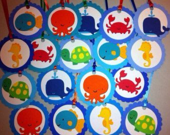 Under the Sea theme Favor Tags, turtle, sea horse, whale, crab, fish, octopus, First Birthday decorations, Under the Sea Baby Shower