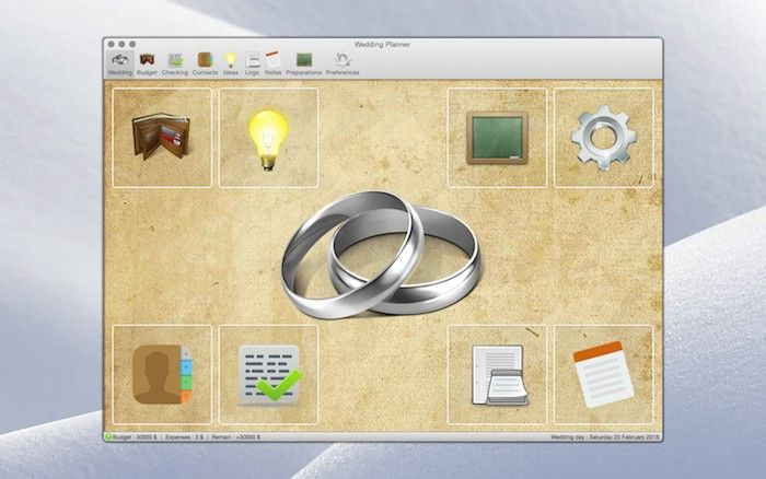 Wedding Planner 1.0.7 software for MacOSX by Rbcafe.