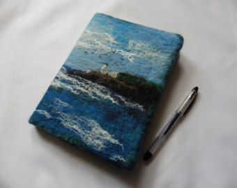 A5 Removeable Notebook Journal Sketchbook cover: Lighthouse on the Cliffs, wet-felted by Deborah Iden.  See more by LittleDeb on Facebook, Folksy and Etsy.