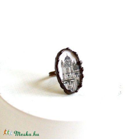 Gyűrű antik képeslap, Ékszer, óra, Gyűrű, Üvegművészet, Csipkekészítés, Meska