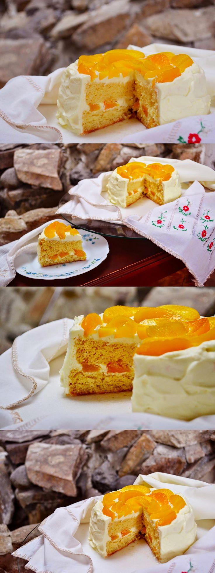 Pastel con trocitos de durazno / http://macadamiaysal.blogspot.com.es/