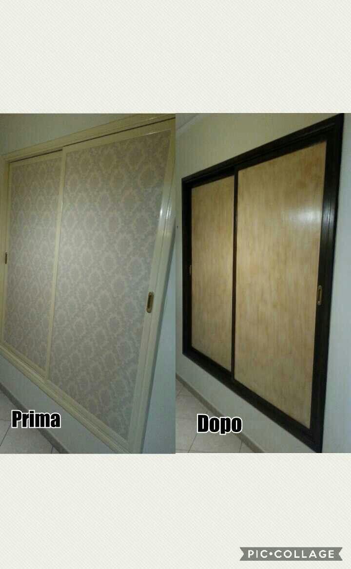 Ante armadio a muro dipinte a mano . Armadio a muro
