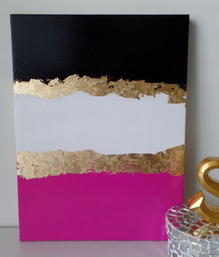 Amazing FREE SHIPPING Kate Spade Inspired Acrylic Canvas Painting Black Pink White  Gold Leaf, Wall Home