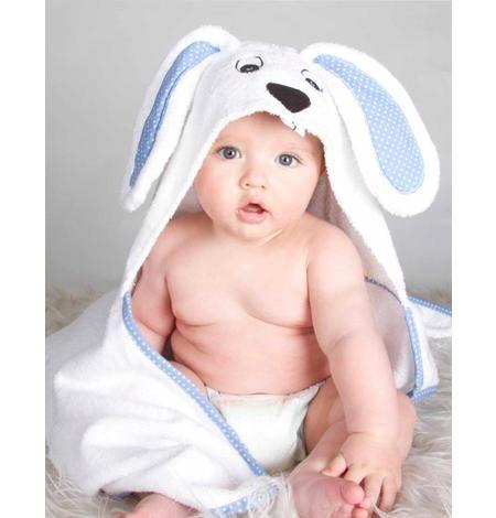 Toalla para beb� con capucha de Conejo. Colores disponibles: - blanco con celeste- blanco c...