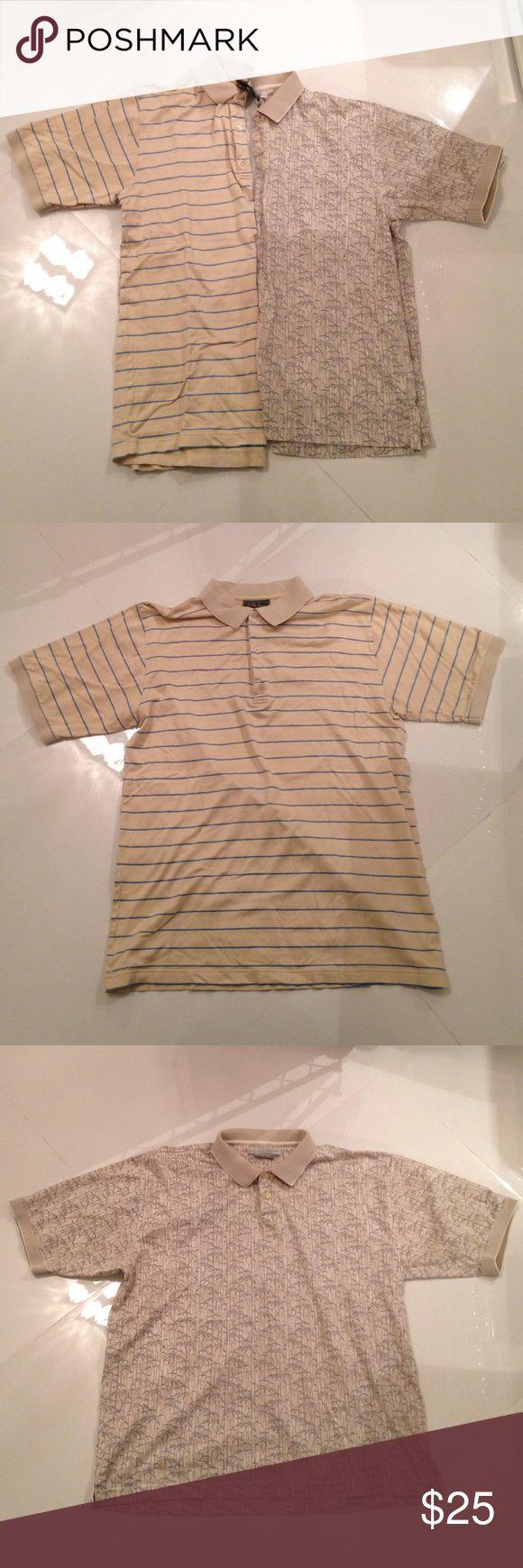💎Short sleeve polo shirt bundle Tan and blue shirt by Bobby Jones Collection and tan palm tree print shirt by Geoffrey Beene. $10 each Geoffrey Beene Shirts Polos