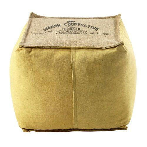 Sitzpuff TRIBORD aus Baumwolle und Jute, gelb