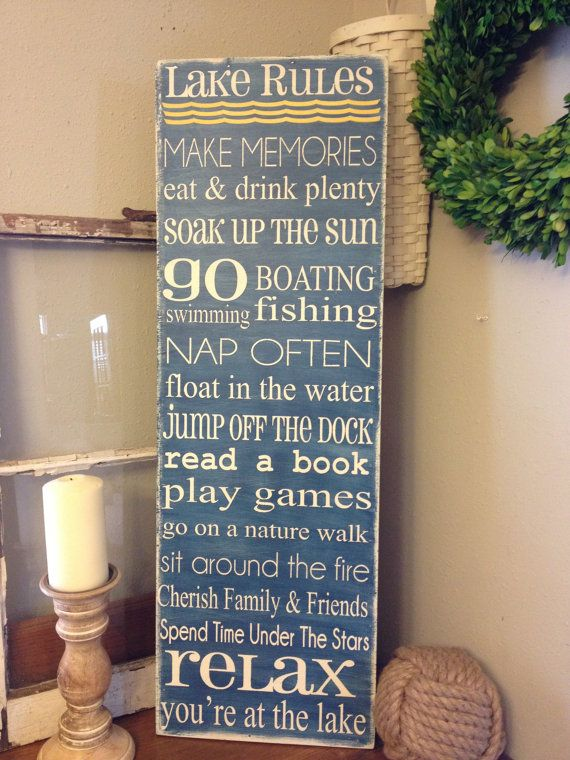 Here is a 12x36 subway style lake rules sign for your cabin, lake house or camper decor. Can be personalized with your favorite sayings and even add