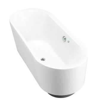 Evok Oval Freestanding BubbleMassage Bath    Features:    Freestanding acrylic bath (fully reinforced)  Multiple air holes releasing tiny bubbles  Easy installation using drop-in base support and adjustable feet