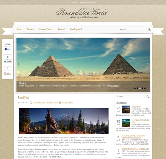 This free WordPress travel theme features a social sharing bar, a responsive layout, a Google Maps shortcode, a dynamic content loader, translation options, custom menus and sidebars, and more.