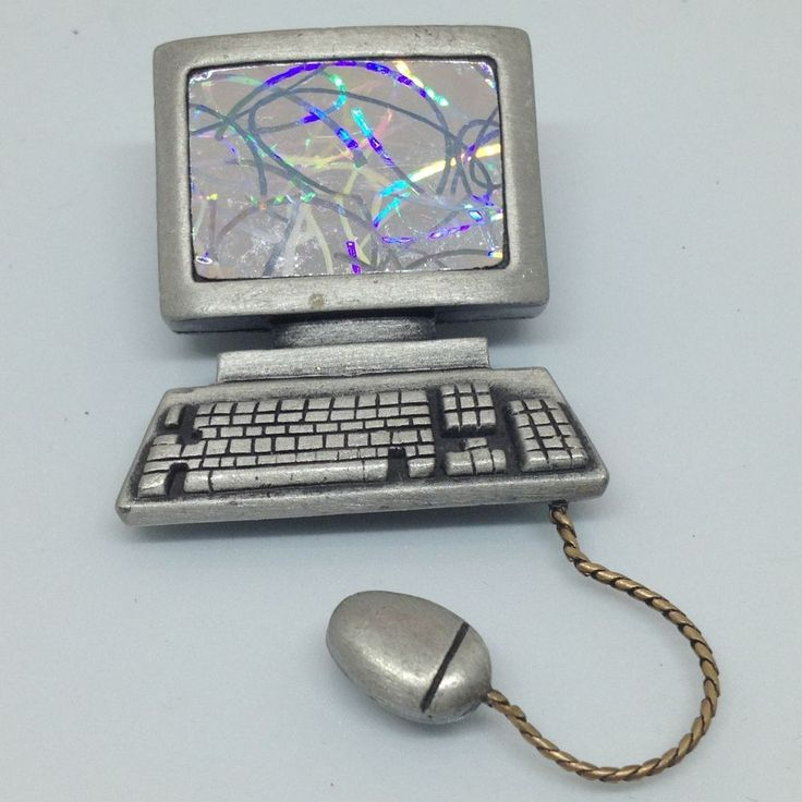 Signed JJ Vintage HOLOGRAPHIC COMPUTER MONITOR BROOCH Pewter Chain Mouse SALE #JJ $2.50 Sale! #ebay #vintagebrooch #vintagejewelry #computerbrooch