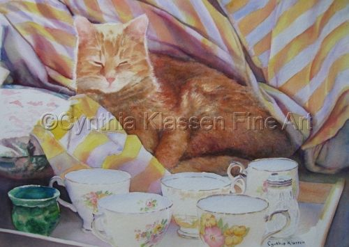 Catnap in China was painted in watercolor from a photo I took of Orville who had slipped in amongst my china tea cup still life subjects. He found the perfect sunbeam for his nap. Prints available through my website, CynthiaKlassen.com.