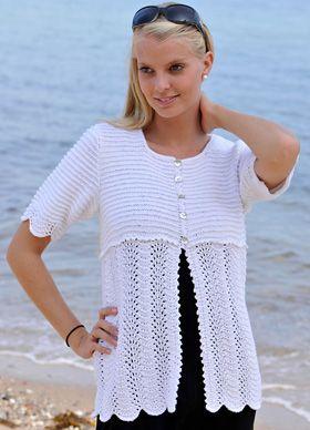Kortærmet striktrøje med fint hulmønster, der er perfekt til sommerens kjoler og toppe