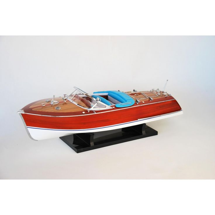 Maqueta naval de artesanía náutica lancha motora de madera