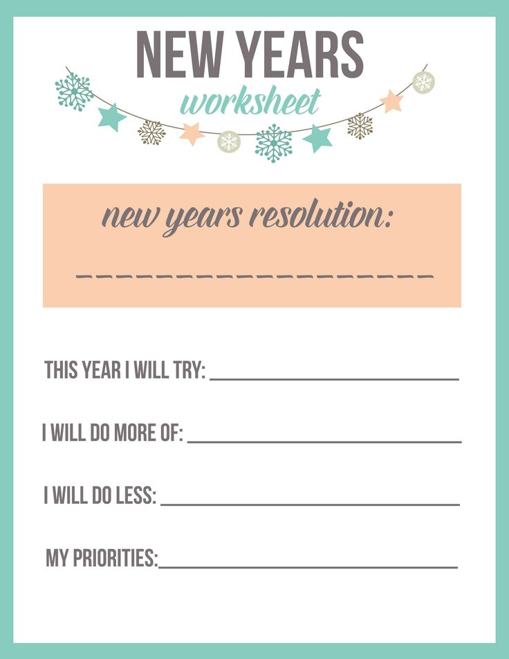 This New Year's Worksheet is so great for helping to set a New Year's Resolution!