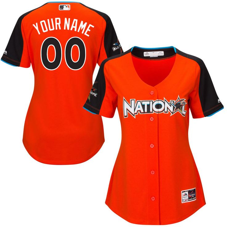 National League Majestic Women's 2017 MLB All-Star Game Personalized Home Run Derby Jersey - Orange
