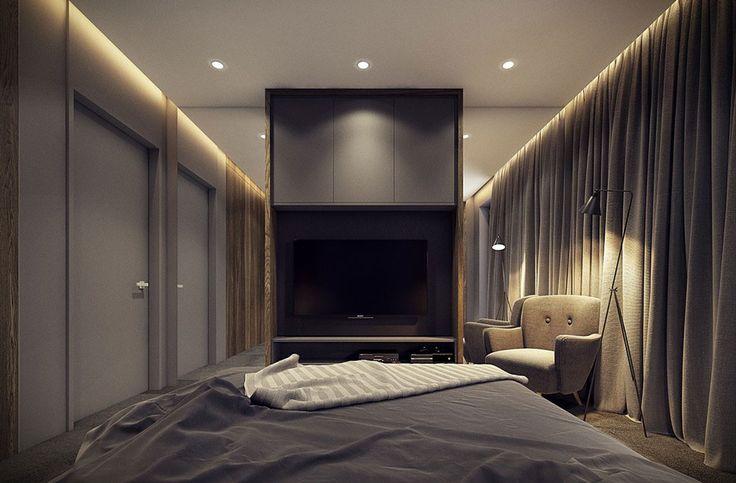 Camera da letto con specchi laterali per una stanza più grande.