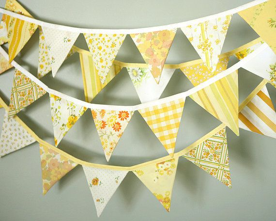 Bunting Banner . Flag Banner . Photo Prop . Pennant Flag Banner . Party Banner . Nursery Decor . Yellow . Vintage Fabric    This lovely pennant