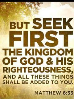 Mas buscad primeramente el reino de Dios y su justicia y todas estas cosas os serán añadidas...