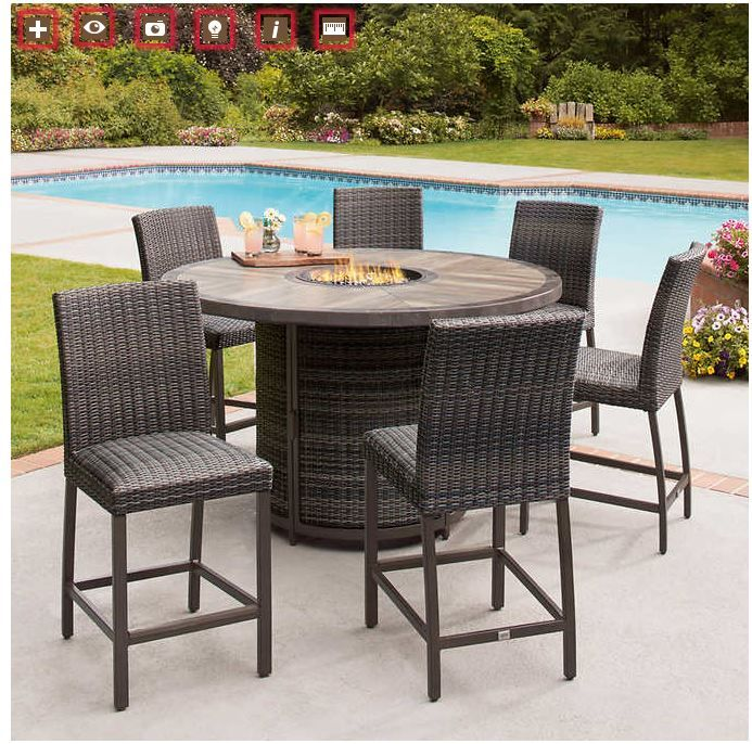 Costco St Louis 7 Piece High Dining Set With Fire Pit Costco