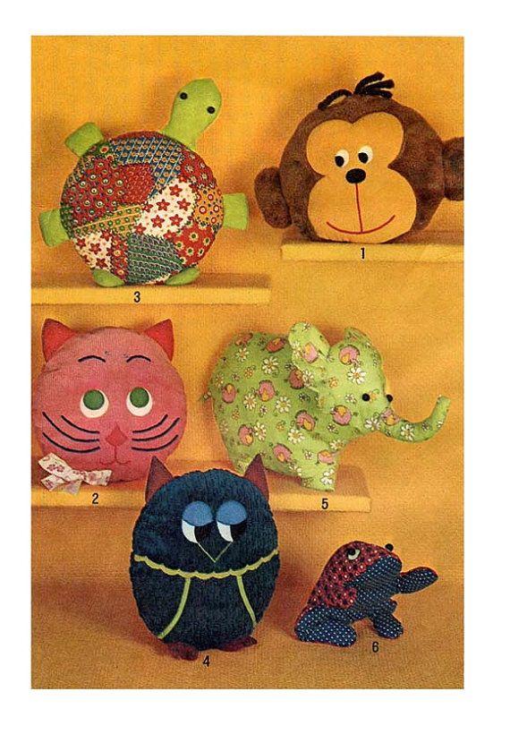 Animal Pillow Patterns To Sew : 70s ANIMAL Pillow PAJAMA BAG Animal Pattern Monkey Turtle Cat Elephant Owl Frog Toys Simplicity ...