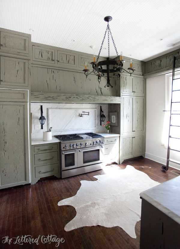 Ashley Gilbreath Interiors | Old Cloverdale House | Montgomery Alabama |  Cypress Kitchen Cabinets | Cowhide