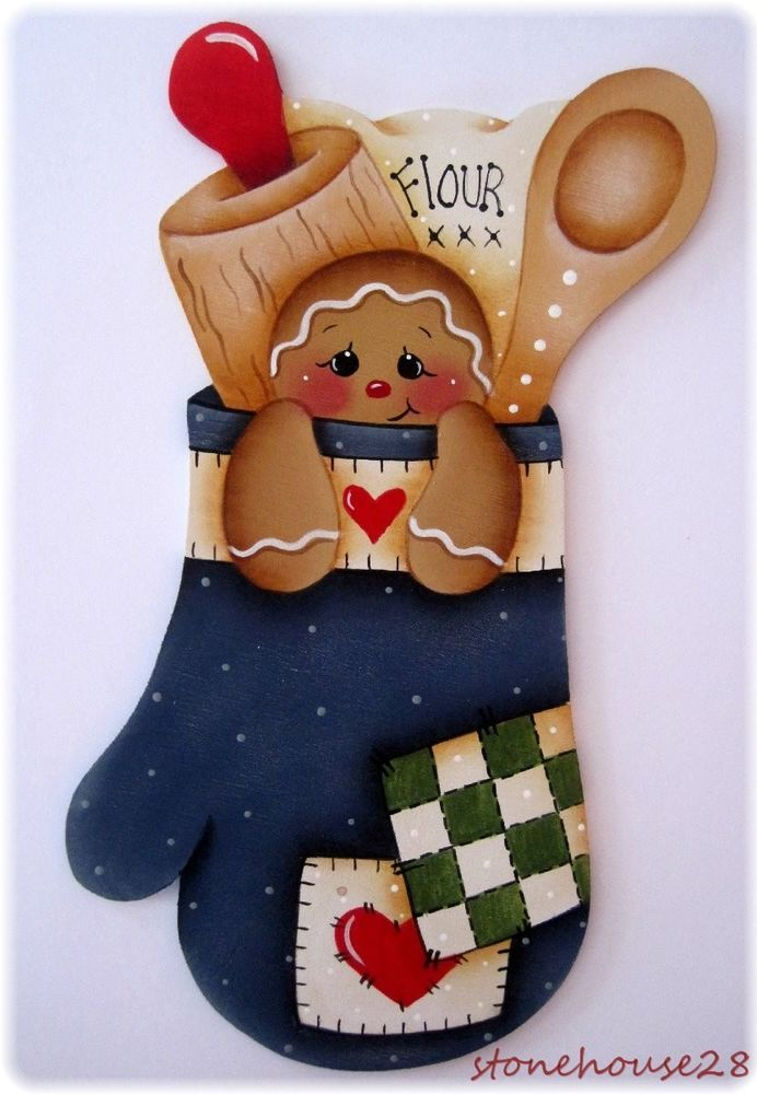 HP GINGERBREAD Oven Mitt FRIDGE MAGNET #Handpainted