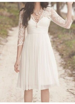 A-line V-Neck Neckline Empire Short Lace 3/4 Long sleeves Wedding Dress