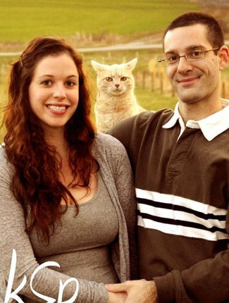 There's nothing like your cat's disapproval to ruin your engagement photos.