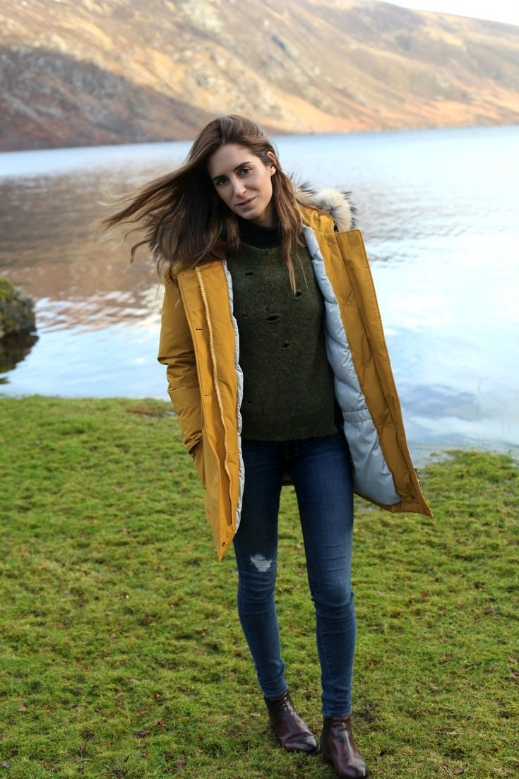 Woolrich parka (similar), Isabel Marant jumper (similar), AG Jeans (similar) and Preventi ankle boots