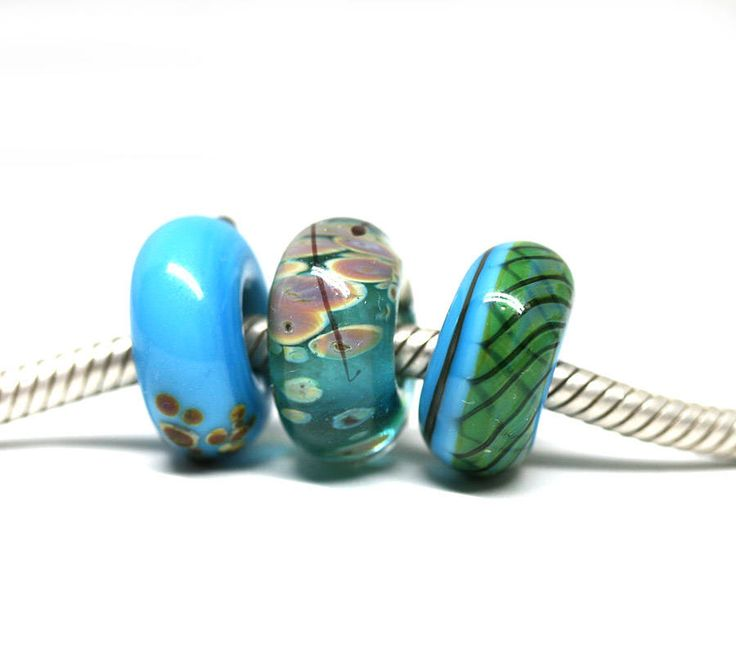 Blue European bracelet beads Large hole Turquoise Blue Lampwork charm beads Murano glass Big hole beads by MayaHoney by MayaHoneyLampwork on Etsy