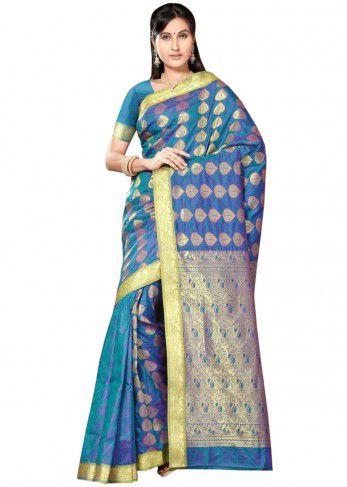 Winsome beauty blue color art silk saree. Item Code: SKDE2017