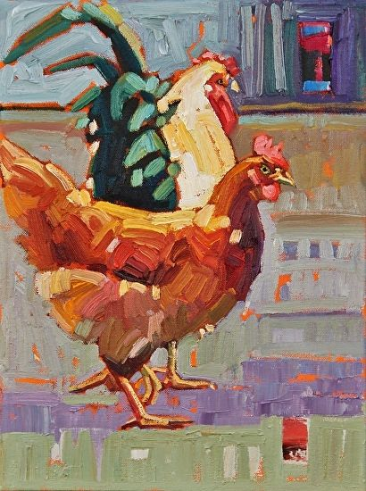 """""""Country Pair,"""" by Rene Wiley by Rene' Wiley Gallery Oil ~ 16 x 12"""