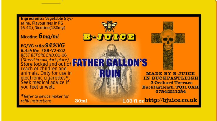 Father Gallon's Ruin like the man, a bit of a challenge. Can be disturbing, but commands respect. Dark, like the night. Strong fire cured tobaccos, a hint of perique and a slug of latakia, topped with 8 other flavours, this complex juice steeps for 4 weeks before leaving Buckfastleigh, ready to vape from the moment it drops through your door. http://bjuice.co.uk/product/father-gallons-ruin-2/